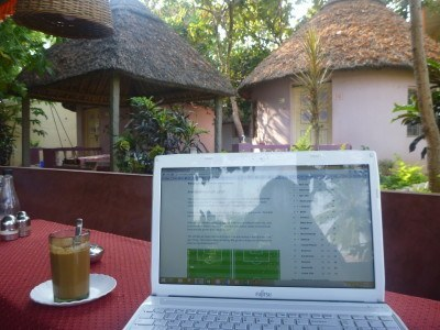 Working at Mowgli Guest House, India