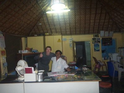 The owner Mr. Gopalaswamy and myself at Mowgli Guest House