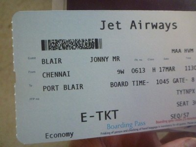 Jet Airways Chennai to Port Blair