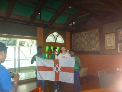 The lads at the Irish House on St. Patrick's Day at 8.37 am