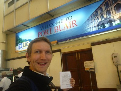 Jonny Blair arrives in Port Blair, Andaman Islands, India