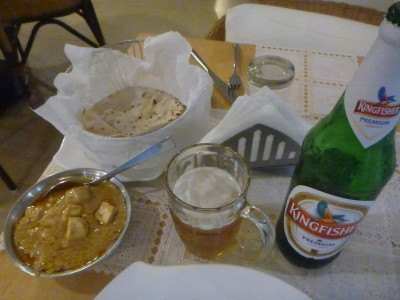 Paneer and a Kingfisher beer