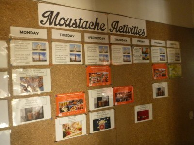 Schedule of events on at Moustache Hostel