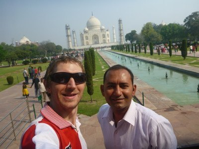 Akshay and I at the Taj Mahal, Agra, India
