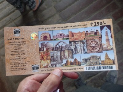 My entrance ticket for Agra fort