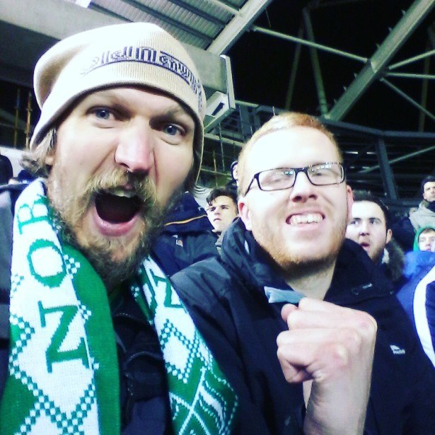 My brother Marko and I at the Northern Ireland v. Latvia match in 2015