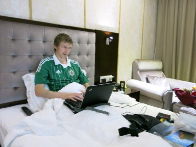 Working from my hotel room in Shenzhen, China