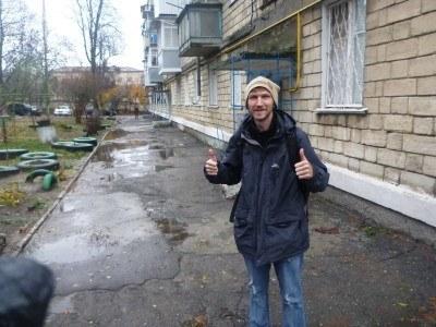 Outside my homestay in Tiraspol