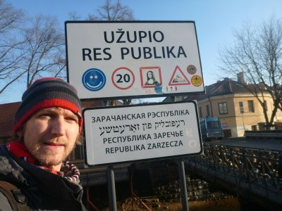 Crossing the border into the Republic of Uzupis, 2015