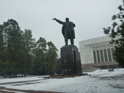 Lenin Statue in downtown Bishkek