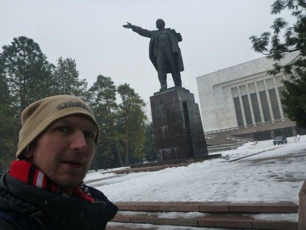 Lenin and I whackpacking in Bishkek
