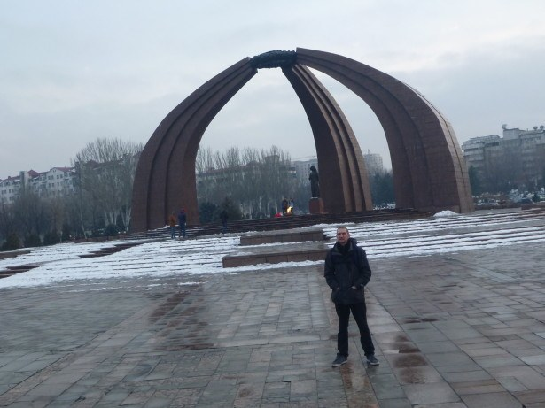 A solemn day at Victory Square in Bishkek, Kyrgyzstan