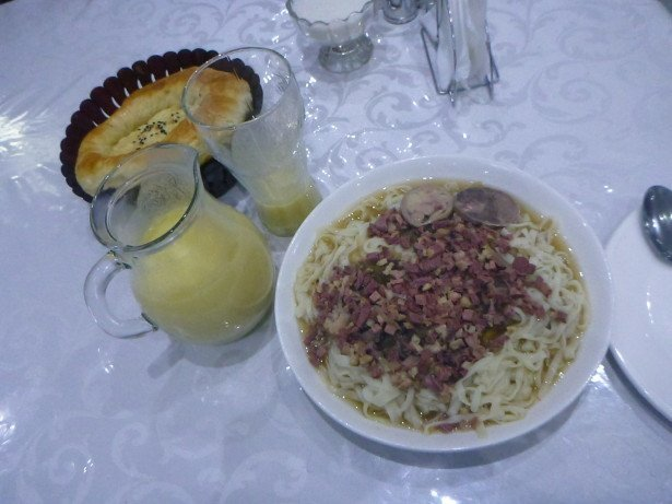 Friday's Featured Food: Beshbarmak (Horse Meat Noodles) and Bozo in Jalalabad Restaurant, Bishkek, Kyrgyzstan
