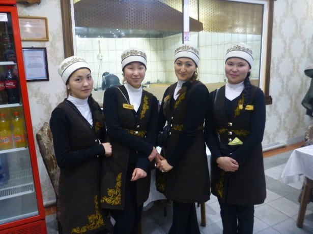 The staff at Jalalabad restaurant in Bishkek, Kyrgyzstan