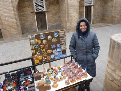 A local saleswoman in lonely, desolate Khiva