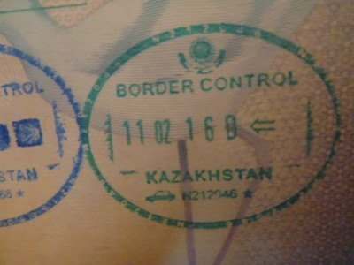 Arrival stamp into Kazakhstan