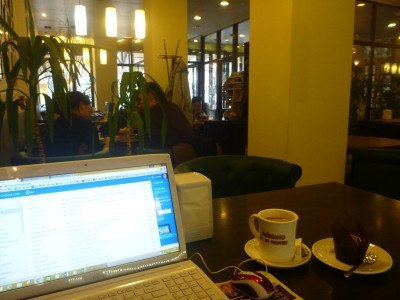 Working at Adriano Coffee in Bishkek