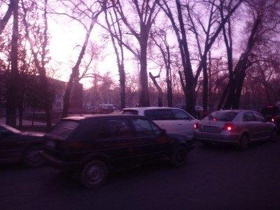 Traffic in Bishkek, Kyrgyzstan