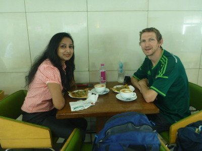 Sapna and I having breakfast together in New Delhi,India