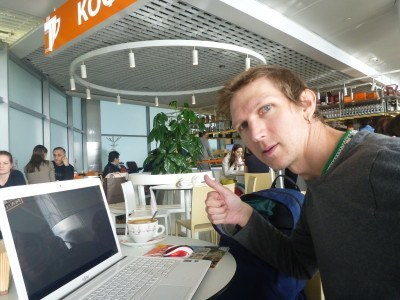 Coffee and blogging in Moscow, Russian Federation