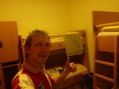 My clean cosy dorm room at the YoHo hostel