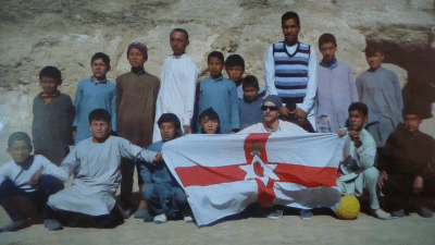 The teams for the football match at Samangan, Afghanistan