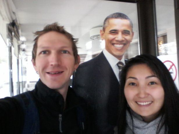 Aigul and I with Barrack Obama, US President at the time