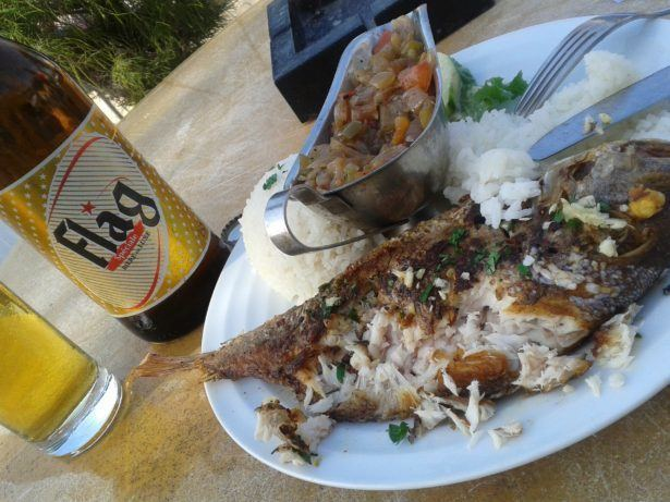 Bored in Senegal - beach fish and beer
