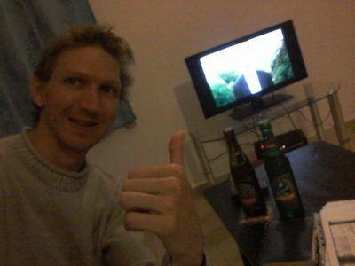 Beer and TV at my apartment in Banana Lodge