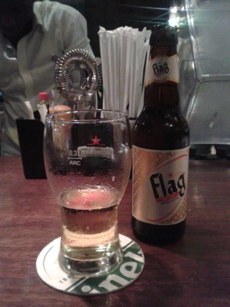 Flag beer in Farid Restaurant, Dakar, Senegal