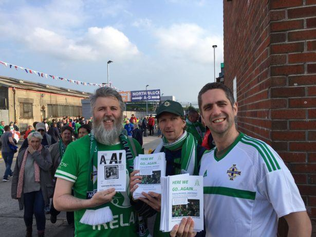 Selling football fanzines in Belfast, Northern Ireland (27th May 2016)