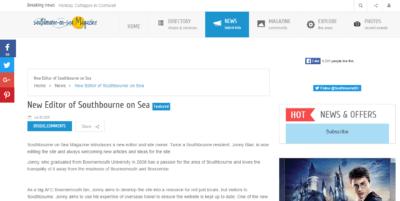 Jonny Blair editor of Bournemouth online magazine