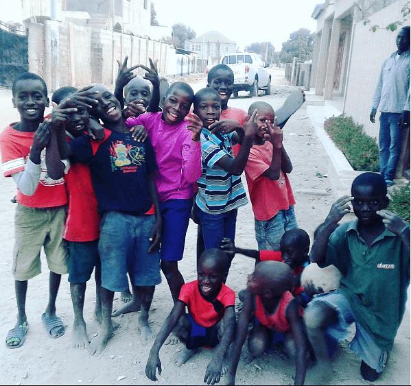 Playing football with kids near Banana Lodge, The Gambia