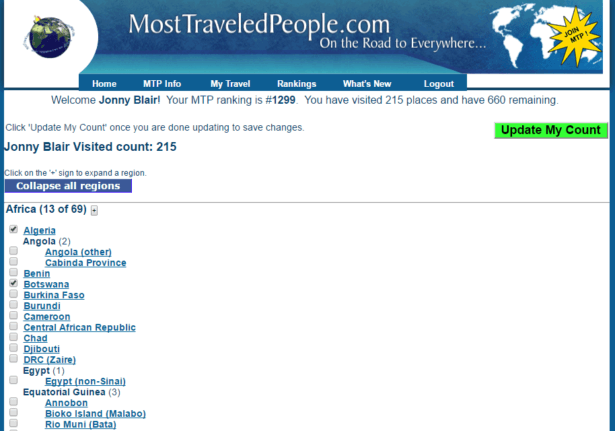 My position and place of 215 out of 875 locations visited on Most Travelled People.com