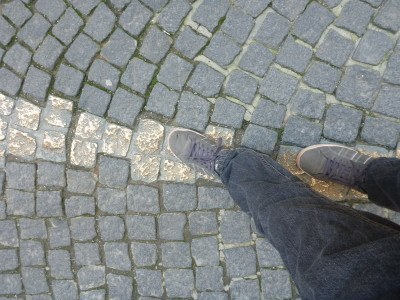 Walking on the gold paving stones