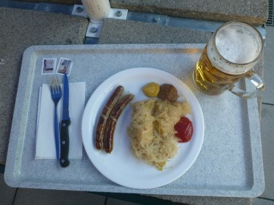 My lunch - Sauerkraut, sausages and beer.