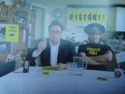 Danny Wallace in his flat in Bow, inside the Kingdom of Lovely. Source - Lonely Planet - Micronations.
