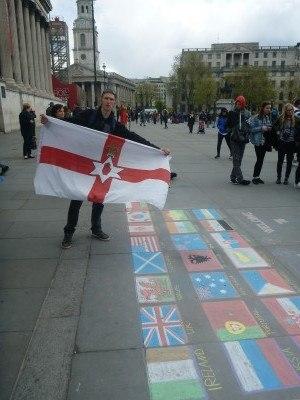 Northern Ireland flag at Traffy's Q, London