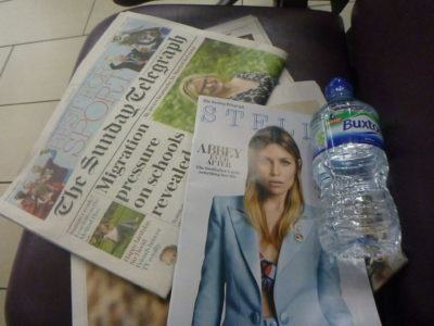Newspaper and water
