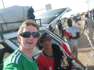 With Fatima Boarding the ferry at Foundiougne, Senegal