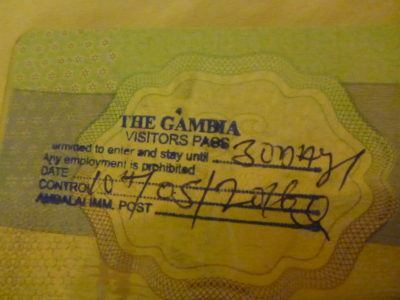 Entry stamp into the Gambia
