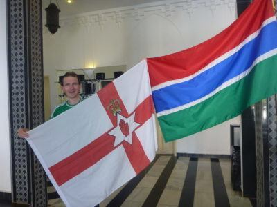 Flying the Northern Ireland flag in the Gambia