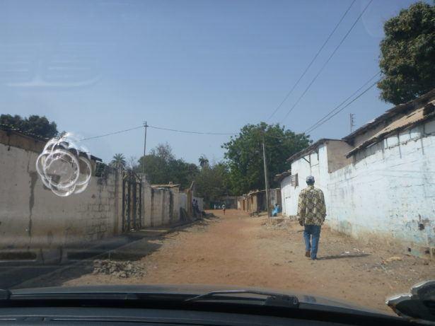 The drive to Kachikally in Bakau, The Gambia