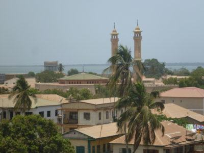 View of the Central Mosque and downtown from Arc 22, Banjul, The Gambia