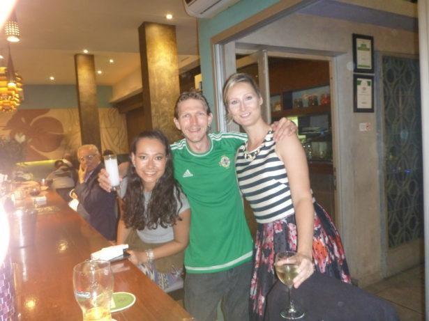 Mina, Kat and I at Farid Restaurant, Dakar, Senegal