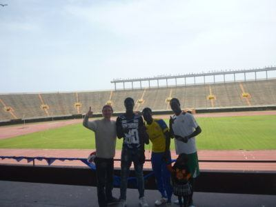 Touring Senegal's National Football Stadium. Yeah baby!