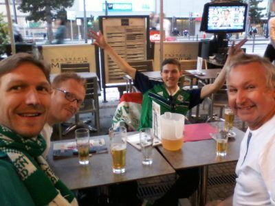 With my two brothers Marko and Danny and my Dad Joe in Lyon, 2 days before the Northern Ireland 2-0 Ukraine match