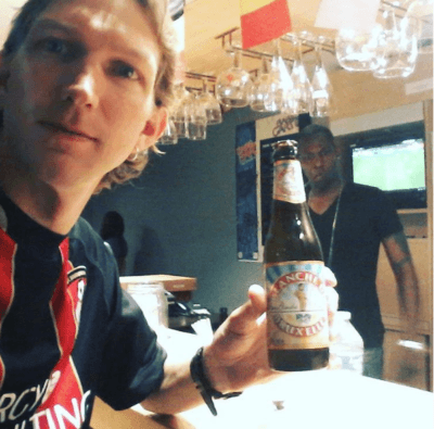 A beer in the backpacker bar