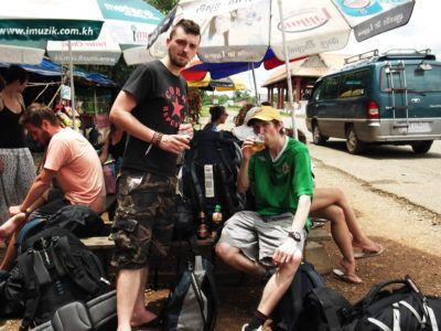 Anthony and I crossing the Laos to Cambodia border some years back.