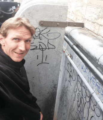 Doing a Piss Against St Catherines Church in Brussels
